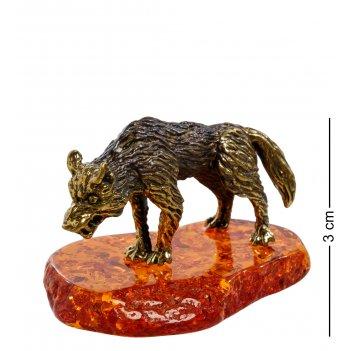 Am-1409 фигурка волк (латунь, янтарь)