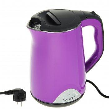 Чайник электрический galaxy gl 0301, 2000 вт, 1.5 л, фиолетовый