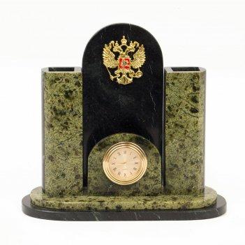 Часы герб змеевик