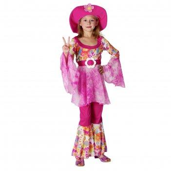 Карнавальный костюм хиппи-дива, 3пр.: кофта, штаны, шляпа, размер l 130-14
