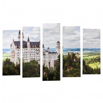 Модульная картина на подрамнике замок, 80x25, 2 — 71x25, 2 — 63x25, 125x80