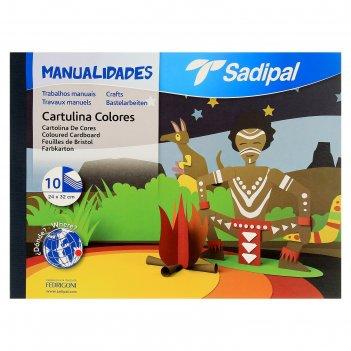 Картон цветной, набор для творчества а4+ 312 х 240 мм, sadipal 10 листов*1