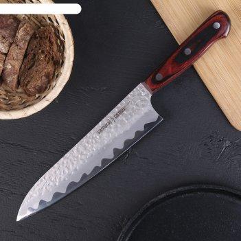 Нож кухонный samura kaiju шеф, лезвие 210 мм, aus-8, дерево