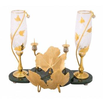 Набор винный романтик (2 бокала, подсвечник) златоус