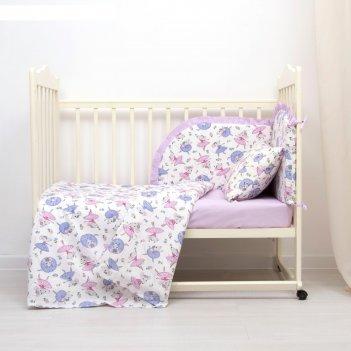 Комплект в кроватку (4 предмета), диз. мышки балеринки/горошек на фиолетов