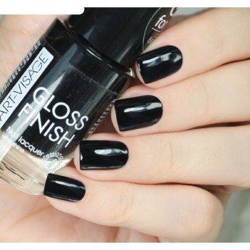 Лак для ногтей art-visage gloss finish, тон 123, чёрная пантера