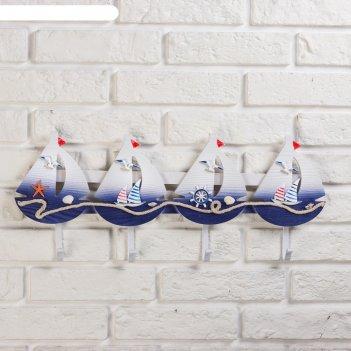 Вешалка морской стиль 4 крючка, 56*22см