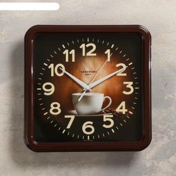 Часы настенные чашка кофе плавный ход, коричневые 26х26 cм