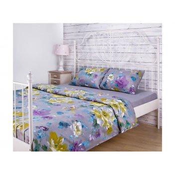 Кпб 1,5 спальный цветы под 150*215 -1шт., прост (цвет серый) 180*220 -1шт.