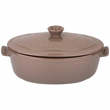 Кастрюля для запекания (утятница) agness modern kitchen овальная серая  39