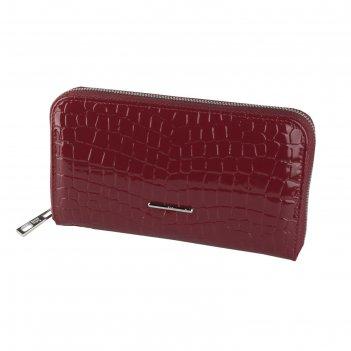 Портмоне-клатч, 21 х 4 х 12 см, цвет бордовый крокодил, серия nice