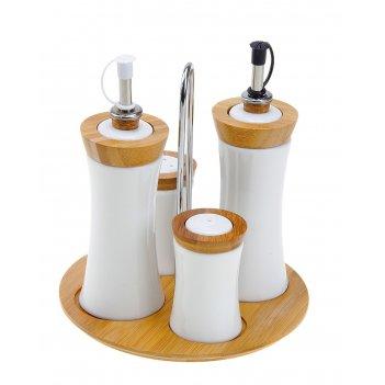 Набор для специй и соусов эстет. вдохновение, 4 предмета на подставке
