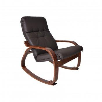 Кресло-качалка сайма экокожа шоколад/каркас вишня