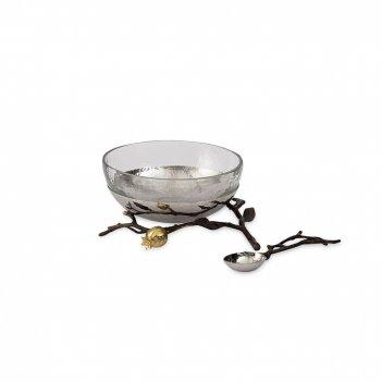 Чаша на подставке с ложкой «гранат», диаметр: 14 см, материал: латунь, сте