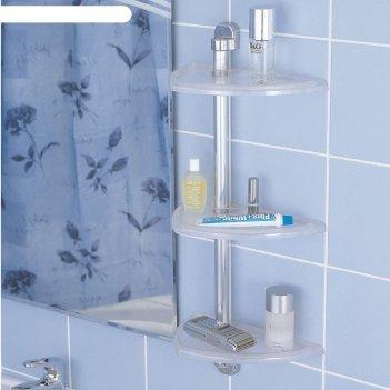 Полка для ванной настенная, 3 яруса, цвет прозрачный