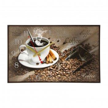 Часы-картина настенные прямоугольные coffee, 37х60 см