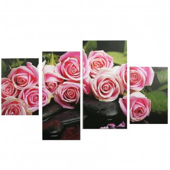 Модульная картина на подрамнике нежные розы, 2 — 30x45, 1 — 29,5x69, 1 — 3