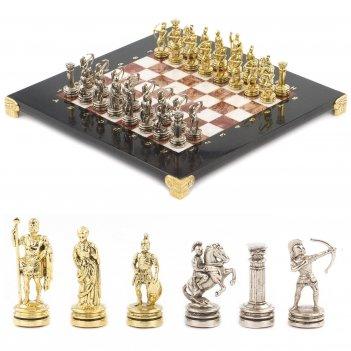 Шахматы лучники доска 280х280 мм мрамор лемезит металл