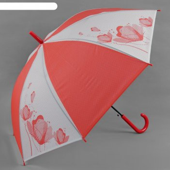 Зонт-трость, полуавтомат, r=55см, цвет красный