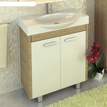 Тумба-умывальник для ванной лион-76 88 х 76 х 44,3 см с раковиной signo 76
