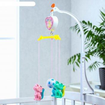 Мобиль музыкальный «счастье. кошечки», 3 игрушки, заводной, без кронштейна