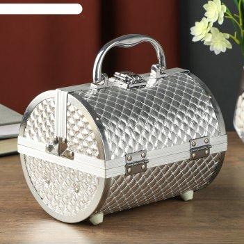 Шкатулка металлокаркас чемодан тубус. серебристая клетка 15х19х16 см