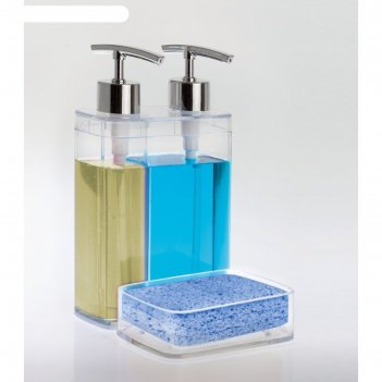 Дозатор для жидкого мыла с секцией для губки viva, цвет прозрачный