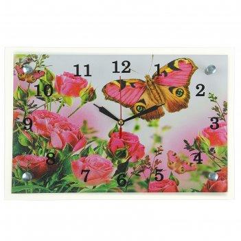 Часы настенные, серия: цветы, бабочка на розах, 20х30  см, микс