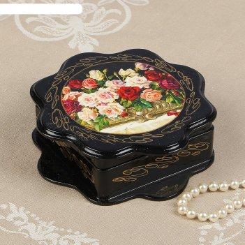 Шкатулка «розы», 16x16 см, лаковая миниатюра