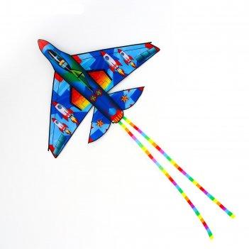 Воздушный змей истребитель с леской, цвета микс