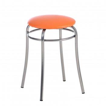 Табурет элеганс оранжевый/хром