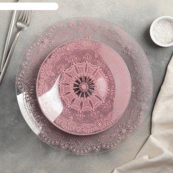 Сервиз столовый на 6 персон бисерное кружево 2: 6 тарелок 20 см, 1 тарелка