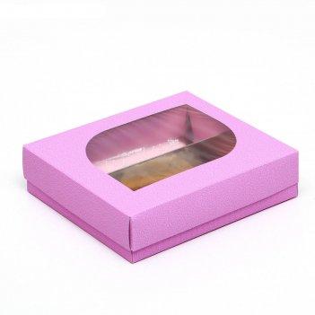 Кондитерская упаковка под 2 эклера, сиреневая, 20 х 15 х 4,5 см
