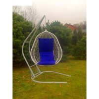 Подвесное кресло на стойке капри, белое/синяя