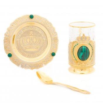 Чайный набор корона малахит с фианитами