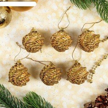 Эко-декор шишки, золотое напыление , 6 шт. в наборе