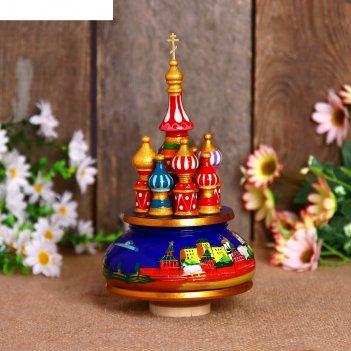 Сувенир-шкатулка музыкальная храм. кремль, 19х15,5 см, синяя