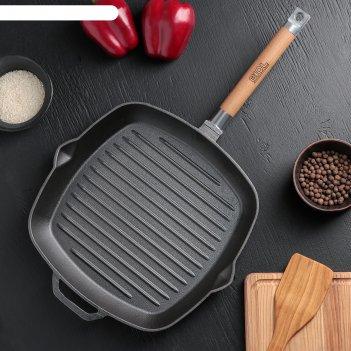 Сковорода-гриль чугунная 28х28 см со съемной ручкой