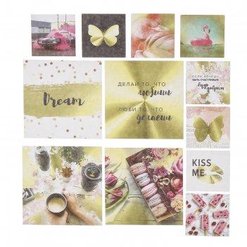 Набор карточек для скрапбукинга pretty pink 9,5х9,5+5х5 см