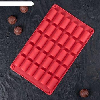 Форма для льда и шоколада «батончик», 30 ячеек (4x2x1,5 см), 27,5x17,5 см,