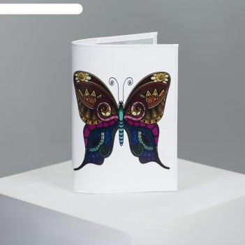 Обложка для паспорта, 9,5*0,3*13,5, принт бабочка, гладкий белый
