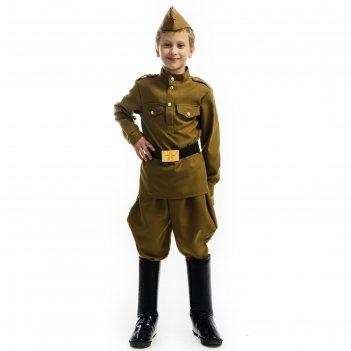 Крнавальный костюми солдат, гимнастерка, брюки, пилотка, ремень, р.34, рос