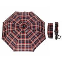 Зонт автоматический «клетка», 3 сложения, 8 спиц, r = 49 см, цвет чёрный/к