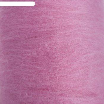 Шерсть для валяния кардочес 100% полутонкая шерсть 200гр (056 розовый)
