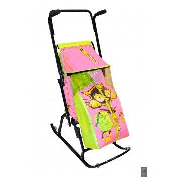 Санки-коляска снегурочка 4-р котенок с 4 колесиками салатовый-розовый