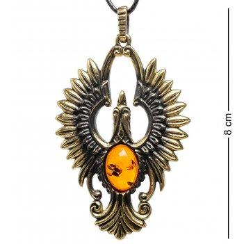 Am-1708 подвеска птица счастья (латунь, янтарь)