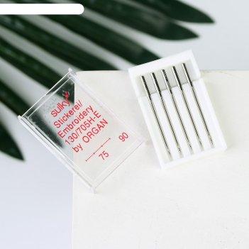 Иглы для бытовых швейных машин  для шёлка 5 шт №75-90 organ