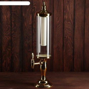 Башня пивная 3 л петронас колба с подсветкой, 2 батарейки, цвет золотой, 1