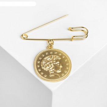 Булавка с подвеской монета, 7см, цвет золото