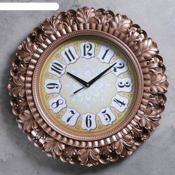 Часы настенные серия жанна, рама листья коричневые, ретро циферблат d=56см